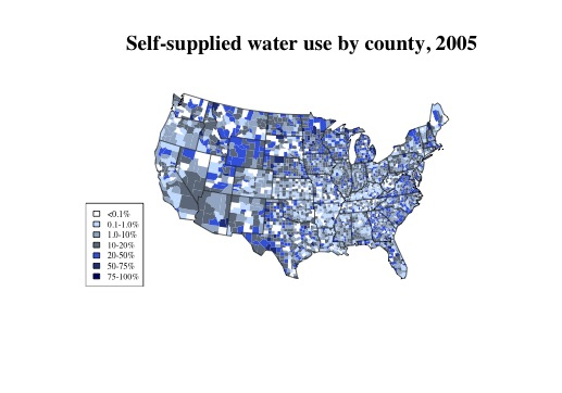 Rates of private water users who do not use public water, by county